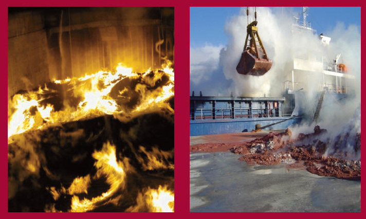 Image of fire in container and cargo hole