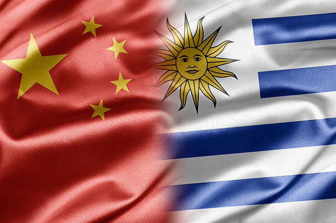 China Uruguay flags