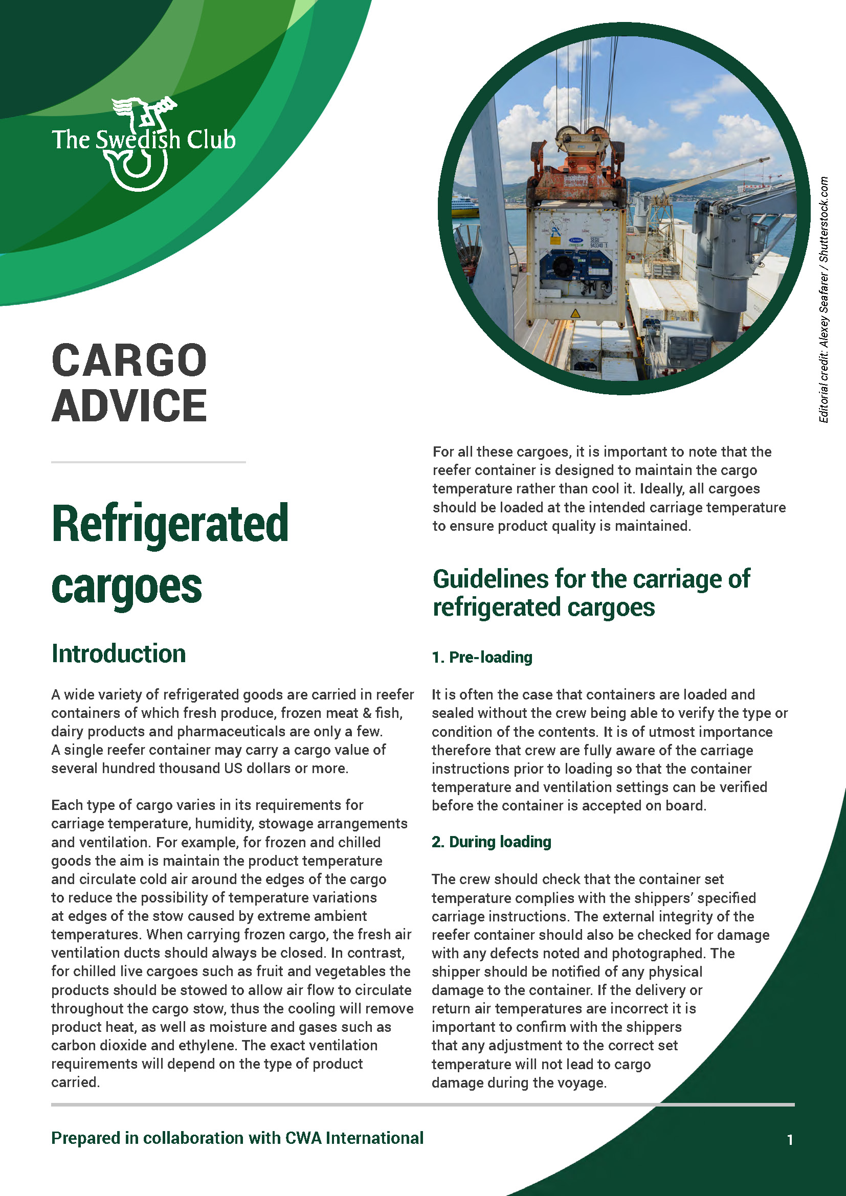 Cargo advice refrigerated cargoes