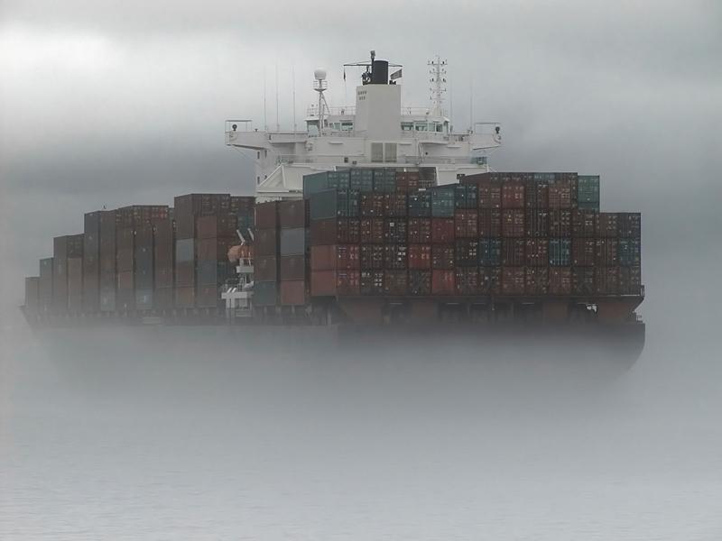 Cargo ship in fog
