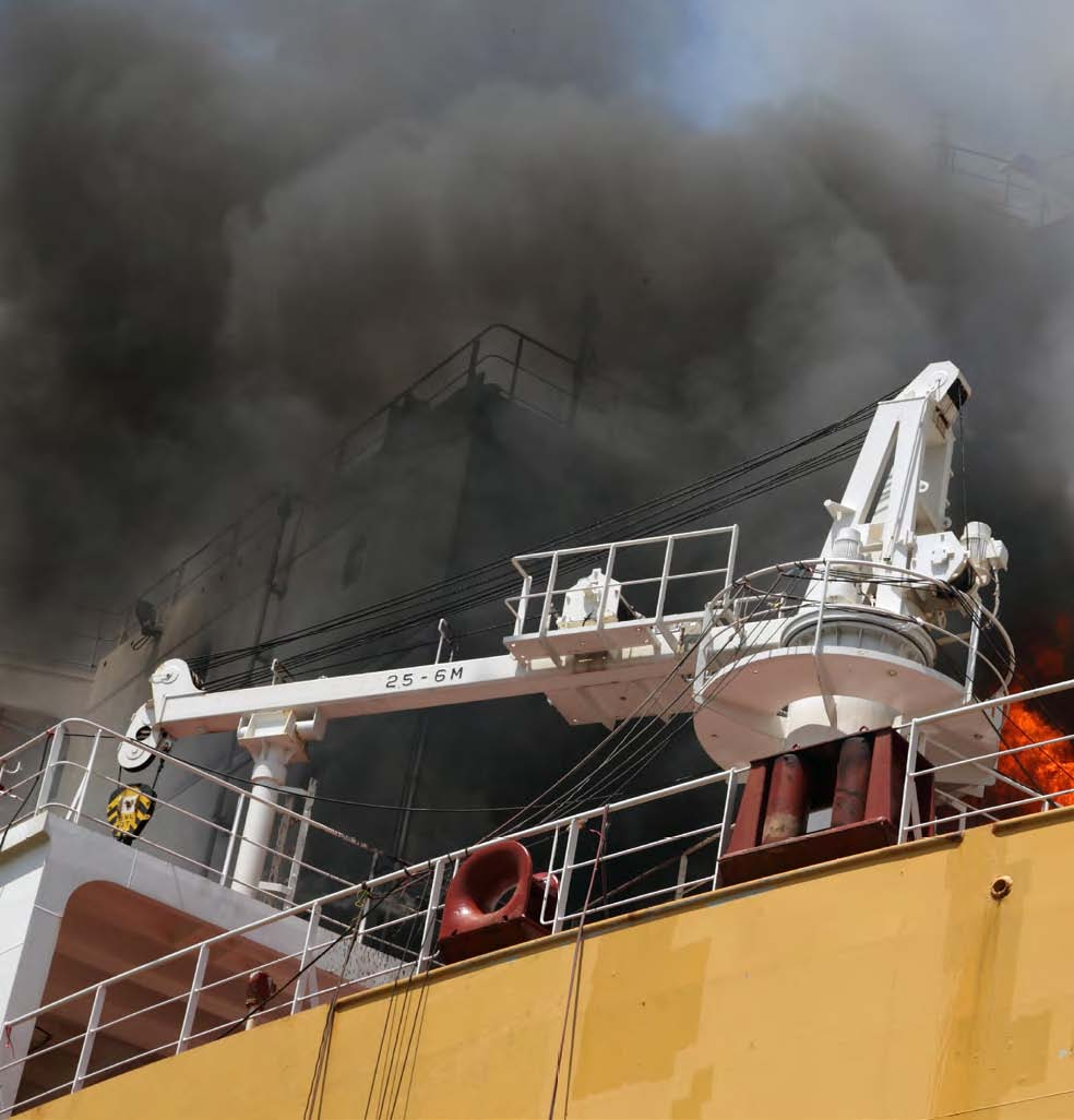 Smoke coming out of a vessel