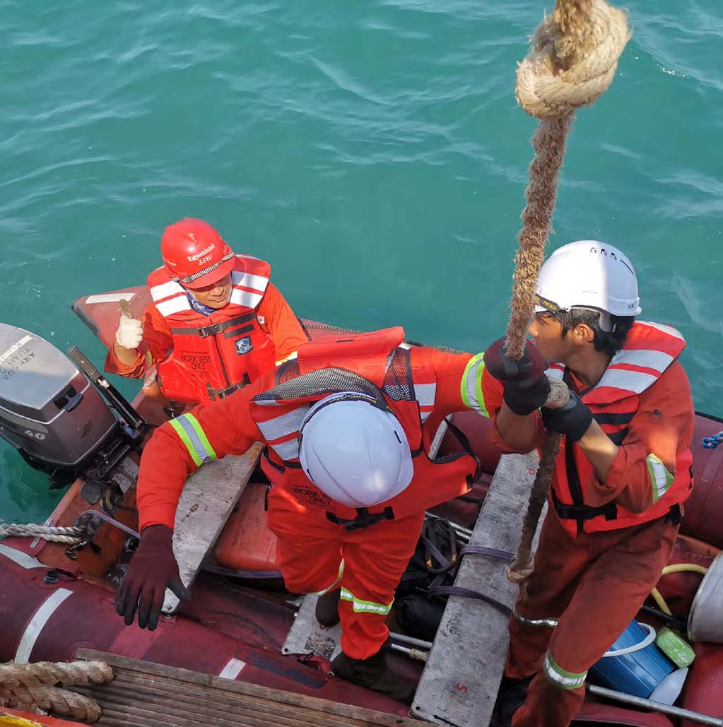 Rescue boat with crew