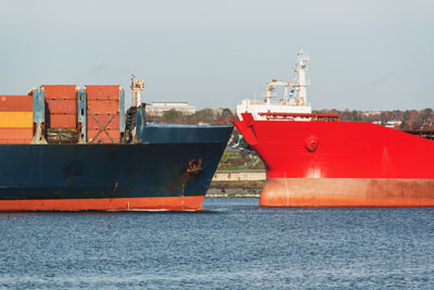 Two ships on collision course